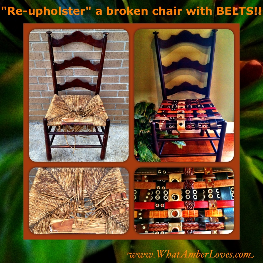 RePurpose and ReUpholster Chairs by using BELTS! (1/6)